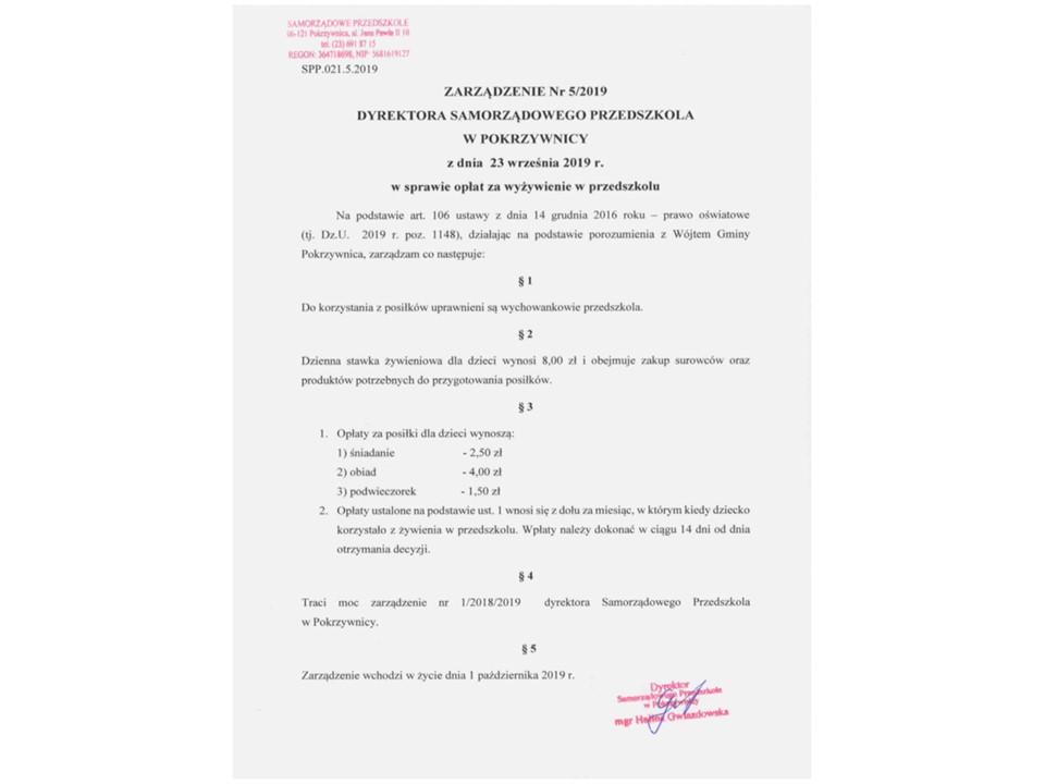 Zarządzenie Nr 5/2019 Dyrektora Samorządowego Przedszkola w Pokrzywnicy w sprawie opłat za wyżywienie w przedszkolu