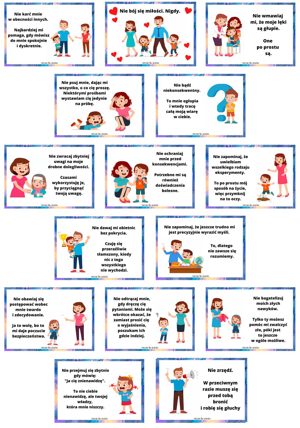 zdjęcie przedstawia wytyczne dla rodziców wg. Janusza Korczaka